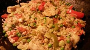 paella in wok